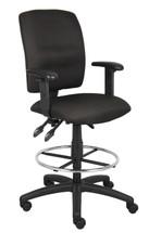 Boss Multi-Function Fabric Drafting Stool W/ Adjustable Arms B1636-BK