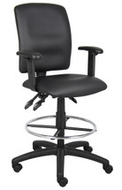 Boss Multi-Function Leatherplus Drafting Stool W/ Adjustable Arms B1646