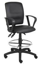 Boss Multi-Function Leatherplus Drafting Stool W/ Loop Arms B1647