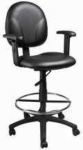 Boss Caressoft Drafting Stool W/Adj Arms & Footring B1691-CS