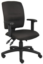 Boss Multi-Function Fabric Task Chair W/ Adjustable Arms B3036-BK