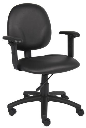 Boss Diamond Task Chair In Black Caressoft W/ Adjustable Arms B9091-CS