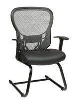 Office Star Deluxe R2 SpaceGrid® Back Visitors Chair with Fixed Arms and Eco Leather Seat 529-E3R2V30