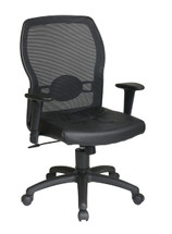 Office Star Woven Mesh Back and Leather Seat 599402