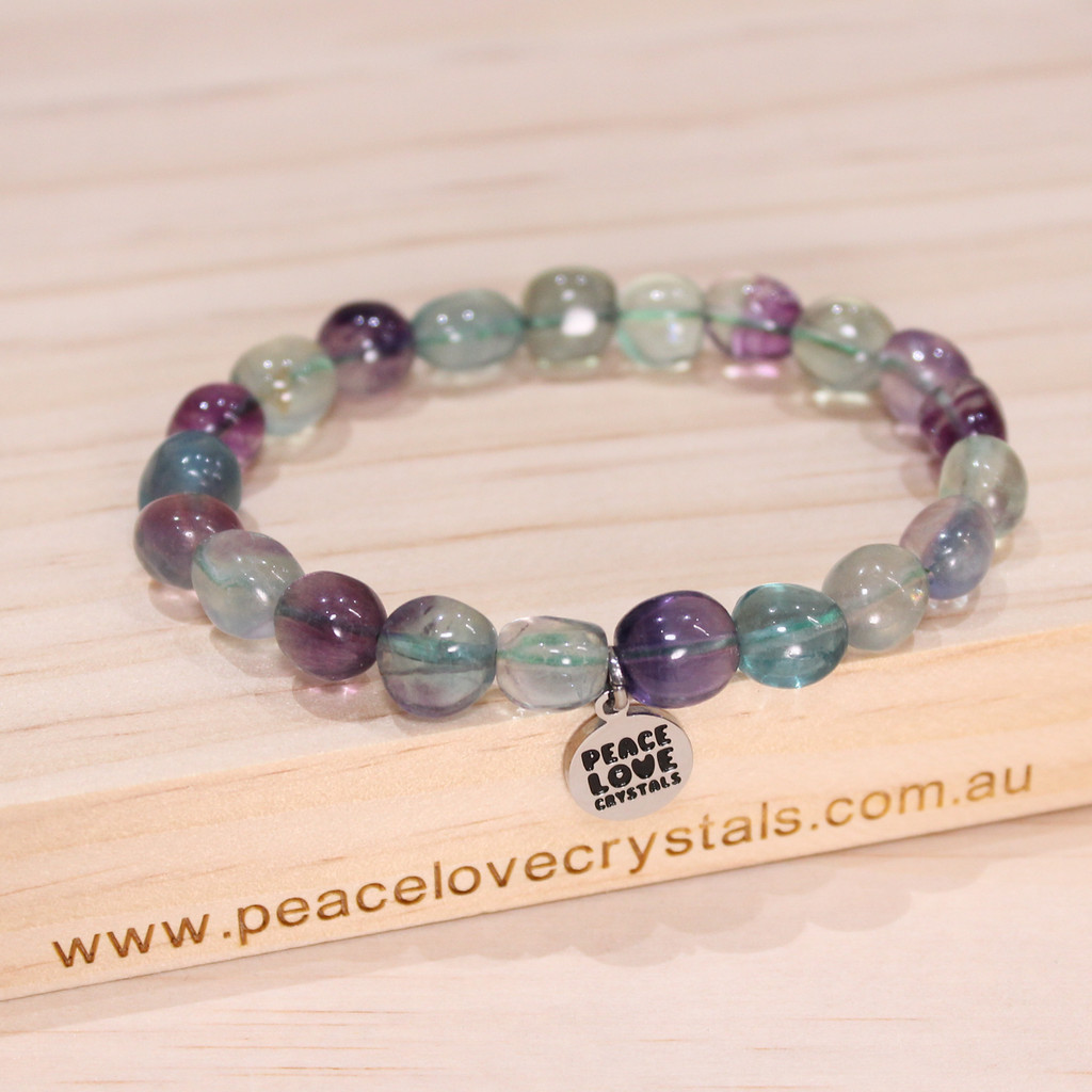 Rainbow Fluorite Pebble Bracelet
