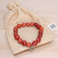 Red Coral Pebble Bracelet