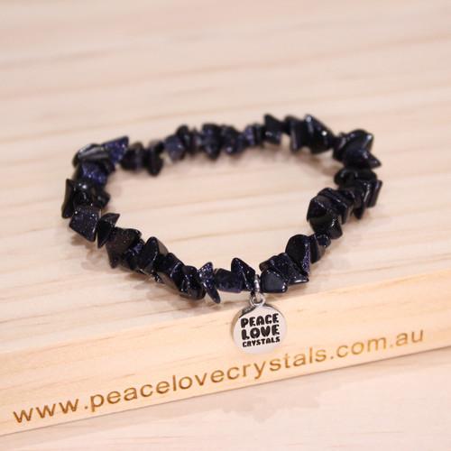 Blue Goldstone Chip Bracelet