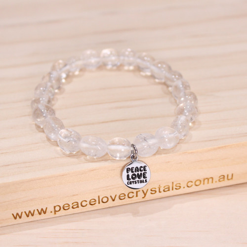 Clear Crystal Quartz Pebble Bracelet