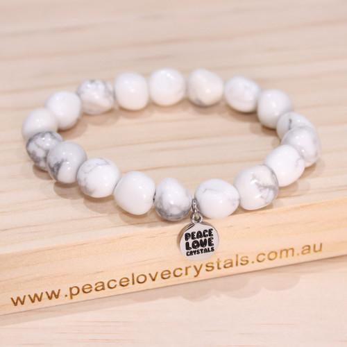 """White Howlite Pebble Bracelet """"Calming"""""""