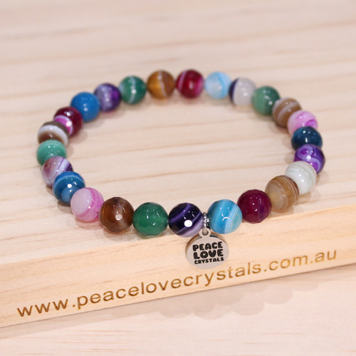 Rainbow Faceted Agate Pebble Bracelet