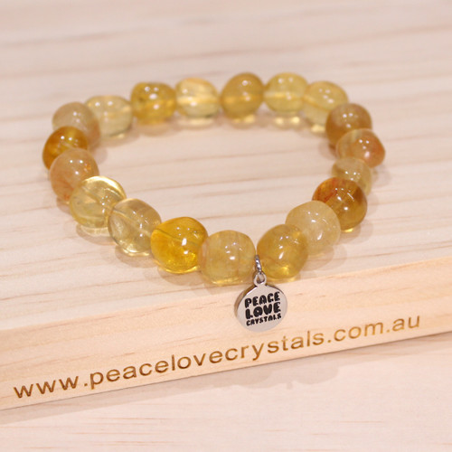 Yellow Fluorite Pebble Bracelet