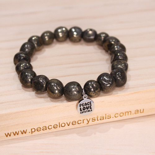 Healers Gold Pyrite in Black Magnetite Pebble Bracelet