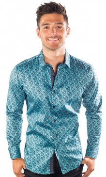 JPJ Festive Men's Aqua Button Down Shirt