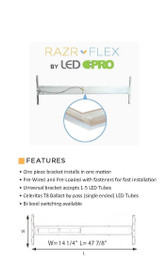 """Razr-Flex LED 15"""" Wrap KIT  - (2) 18w Ballast Bypass- Aluminum - 40K or 50K - FROSTED"""