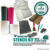 Rhinestone Stencil Kit with Sticky Flock