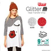 """Siser Glitter - 15"""" x 9"""" Sheet - Silver, Red"""