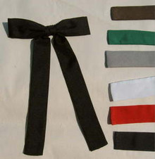 Colonel tie clip-on - at left, black. At right, brown, kelly green, gray, white, red, navy