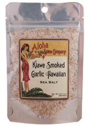 Kiawe Smoked Garlic Hawaiian Sea Salt 2.11 oz. Stand Up Pouch