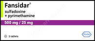 FANSIDAR®, (aka Pyrimethamine + Sulfadoxine, Daraprim) 3pills/pack