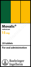 MOVALIS® (aka Meloxicam), 15mg/pill 20pills/pack