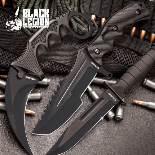 CSGO Counter Strike Black Fixed Blade Knife Set (17 BV445)