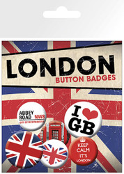 LONDON Badge 6 Pack I Heart GB