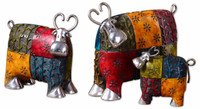 Colorful Cows Sculpture, Set Of 3