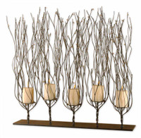 Fedora, 5 Candle Beaded Metal Branch Candelabra