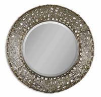 Alita Champagne Round Wall Mirror