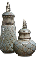 Deniz Ceramic Decorative Containers, Set Of 2