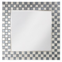 Michael Square Smoky Gray Framed Wall Mirror