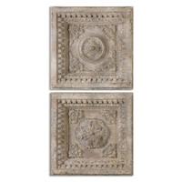 Auronzo Aged Ivory Squares, S/2
