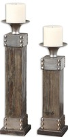 Lican Natural Wood Candleholders, Set/2