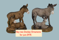 Two Donkey Mare and Foal Ornaments.