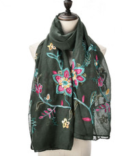 Embroidered Scarf in Flower Design