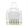 RJ12 Jack Crimp Connectors for Stranded Wire, Flat Wire Entry Jack, 6P6C, 50 Pieces per pack