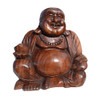 Large Laughing Wooden Buddha