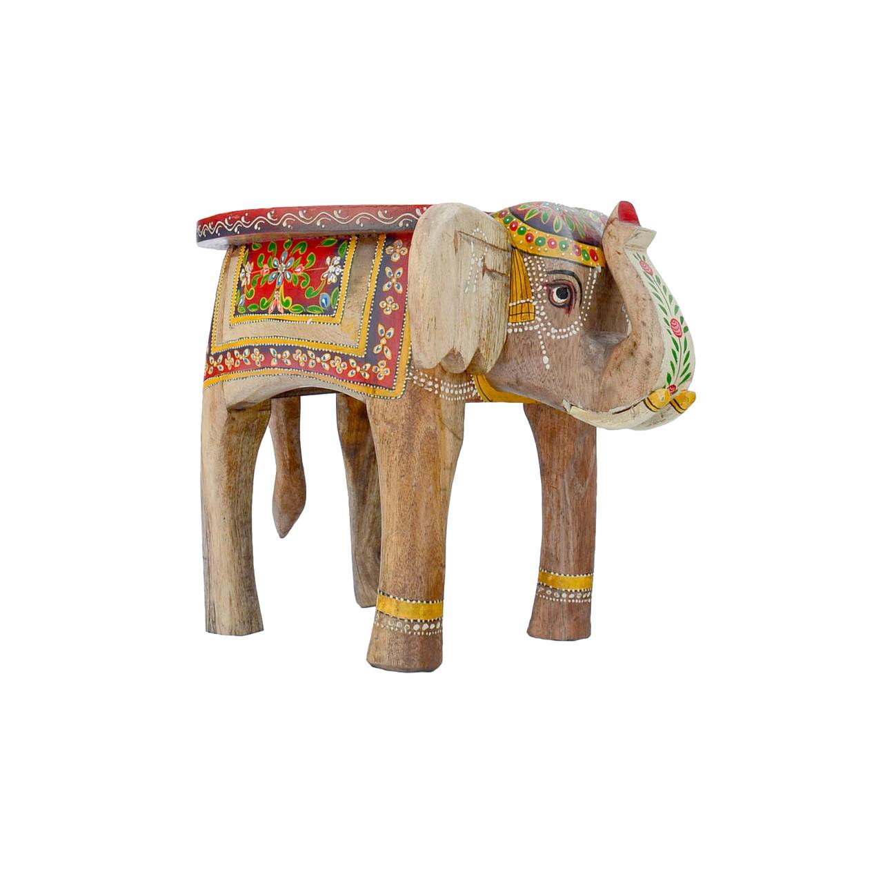 Painted Elephant Table Natural Wood Medium