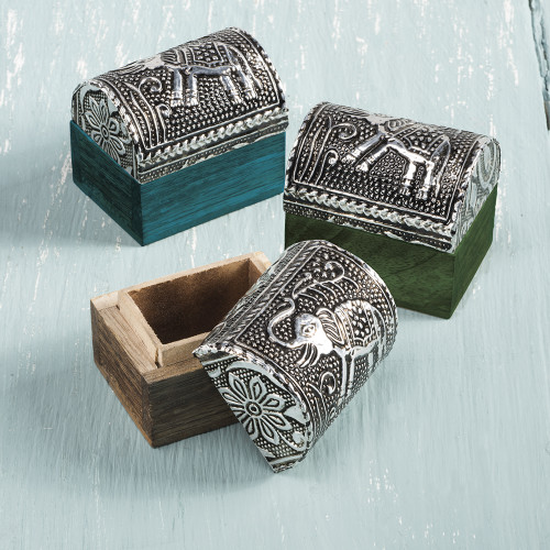 Domed Wooden Box with Embossed Lid