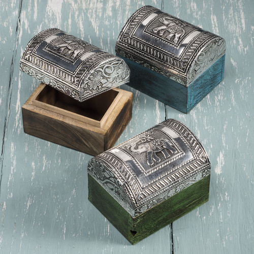 Large Domed Wooden Box with Embossed Lid