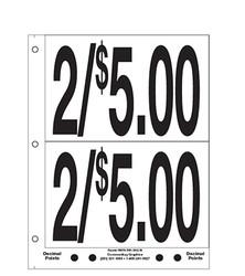 """5"""" Pre-priced 2/$5.00"""