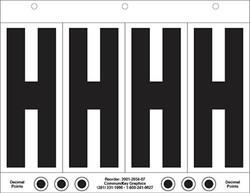 """6"""" Letter H - 4/sht"""