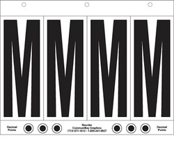 "6"" Letter M - 4/sht"