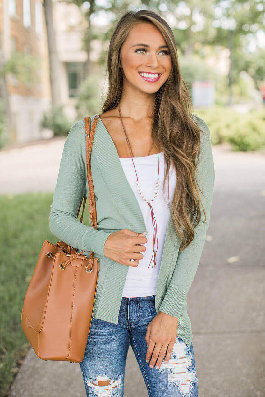 Always In Love Cardigan Sage
