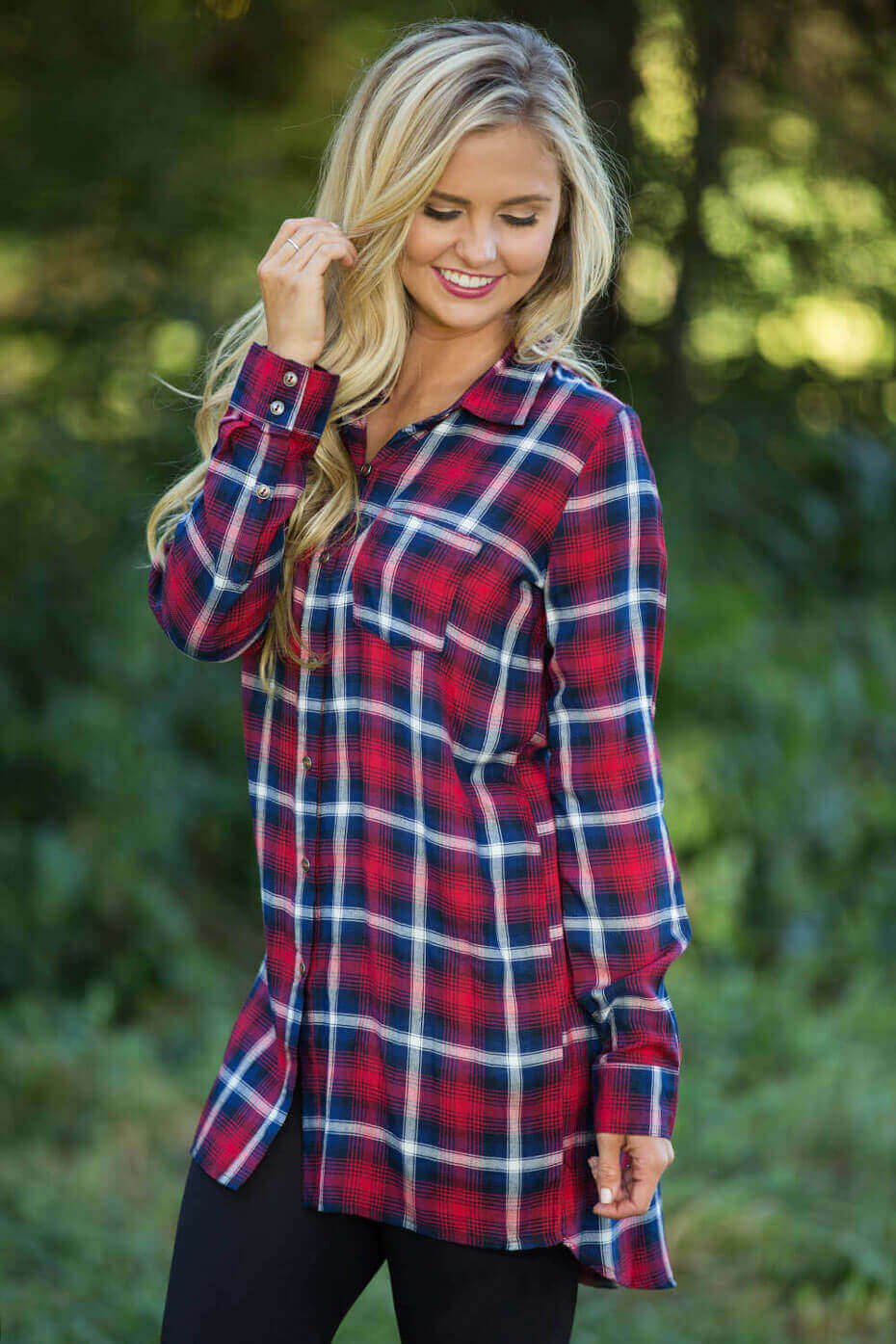 Hold You Close Plaid Tunic Red
