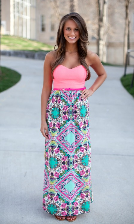 Colorful, printed, belted maxi dress