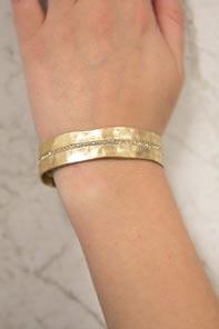 Gold hammered metal bracelet
