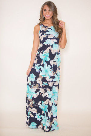 Thinking Of My Love Floral Maxi Dress Mint