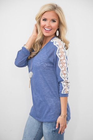 All About That Lace Blouse Blue CLEARANCE