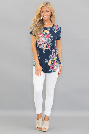 Wish I Had You Floral Blouse Navy